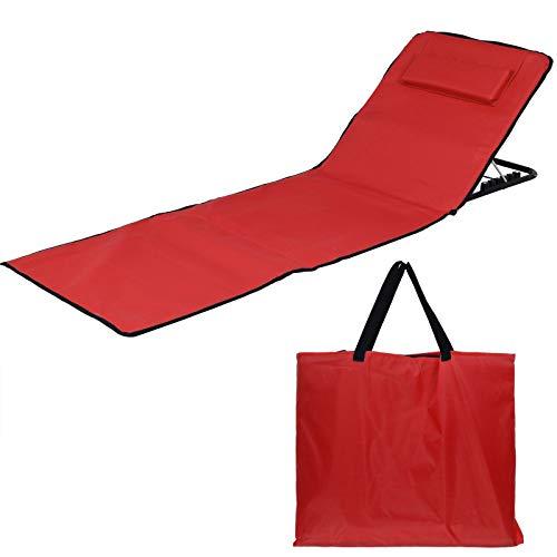 JEMIDI Strandmatte Schwimmbadmatte mit Rückenlehne und Kissen nur 1,4 kg - Super leicht!!! Schwimmbad Decke Matte Laken Liege Strandliege Rot