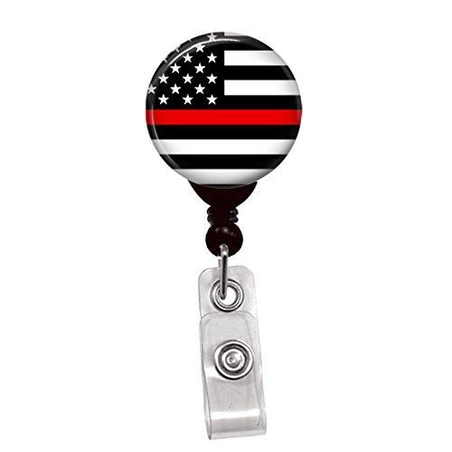 Thin Red Line USA Flag - Retractable Lanyard Badge Reel - Nurse ID Name Tag Custom Clip On Badge Holder (1/4 Flag Belt Clip)