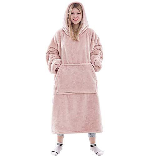 Manta con capucha, de gran tamaño, sudadera Sherpa, súper suave, cálida y cómoda, con capucha gigante frontal, suéter de bolsillo gigante para adultos, hombres y mujeres