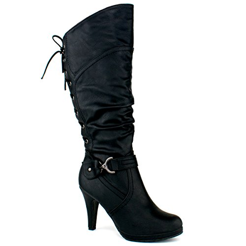 TOP Moda PAGE-65 Women's Knee High Round Toe Lace-up Slouched High Heel Boots, Black Size 8