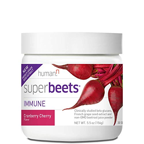 humanN SuperBeets Immune with Grape Seed Extract | Strengthen Your Natural defenses and Maintain a Strong Immune System, Wellmune Beta Glucans, Vitamin C, Cranberry Cherry Flavor, 5.5-Ounce