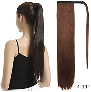 BARSDAR Ponytail Extension Long Straight Wrap Around Clip inHair Extension26 Inch Synthetic Hairpiecefor Women - Dark Brown mix Auburn Evenly