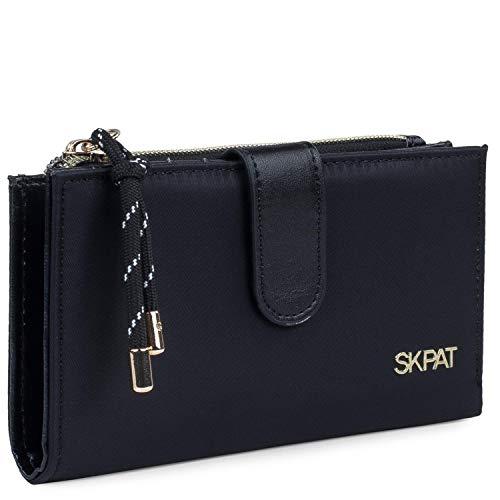 SKPAT - Kunstleer Dames Portemonnee Kaarthouder Portemonnee Ideaal voor dagelijks gebruik Praktisch Functioneel Volledig Stijlvol ontwerp 307621, Color Zwart