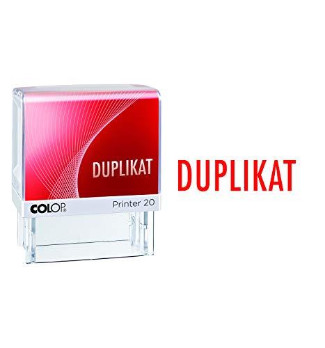 COLOP 152224 Textstempel Printer 20 mit Text Duplikat, Abdruck rot, im Faltkarton