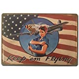 BOEMY Chapa Vintage Mujer Pin Up Avión USA | Placa metálica Decorativa de Pared Resistente y con Relieve | Decoración Retro para Bar, Taller, Garaje, Salón, Comercio | Medidas 20x30 cm.