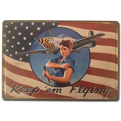 BOEMY Chapa Vintage Mujer Pin Up Avión USA | Placa metálica Decorativa de Pared Resistente y con Relieve | Decoración Retro para Bar, Taller, Garaje, Salón, Comercio | Medidas 20x30 cm.