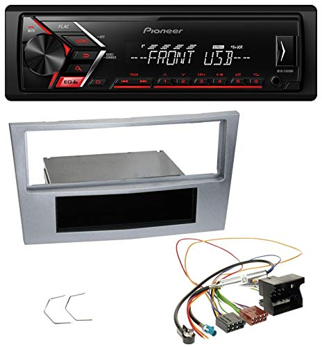 caraudio24 Pioneer MVH-S100UB USB AUX MP3 1DIN Autoradio für Opel Astra H Zafira B Corsa D ab 2005 matt-Chrom