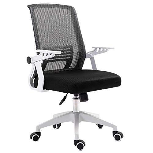 HMBB Sillas de escritorio, de malla con respaldo medio, multifunción, giratoria, ergonómica, silla de oficina, para el hogar, oficina, con brazos ajustables (color negro)