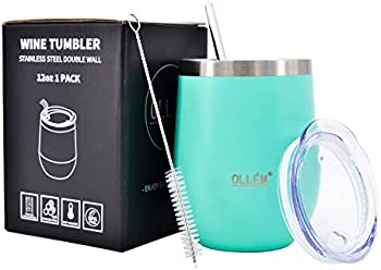 Ollem Stainless Steel Insulated Wine Tumbler with Lid and Straw,12 oz