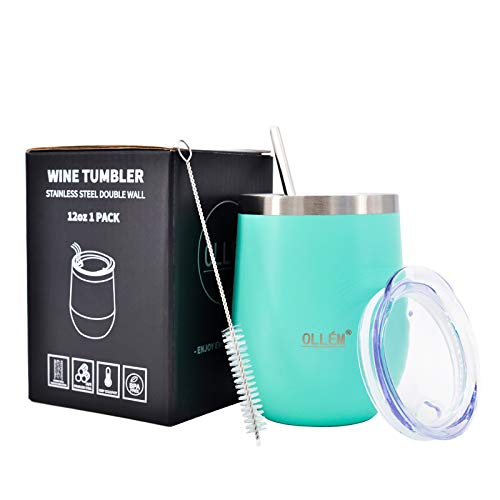 OLLÉM Wine Tumbler, Stainless Steel Insulated Wine Tumbler with Lid and Straw,12 oz Double Wall Stemless Wine Glass for Hot or Cold Drinks, Travel Tumbler for Women (Mint Green)
