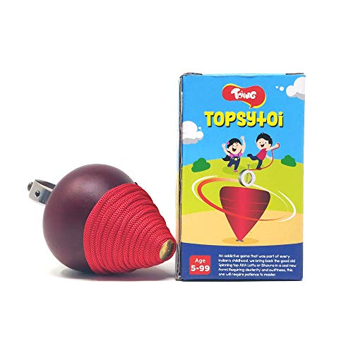 Toiing Topsytoi Combo Pack of 2 | Traditional Wooden Spinning Top; Also Spins Upside Down | Indoor & Outdoor Toy for Kids Age 5+ Years