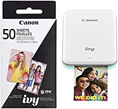 Canon IVY Mobile, Portable Mini Photo Printer, Mint Green with Zink Photo Paper Pack, 50 sheets