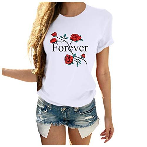 Bluse Damen Casual Tunika Tops Forever Rose T-Shirt Rundhals Sommer Kurzarm Tshirt Baumwollshirt Inawayls