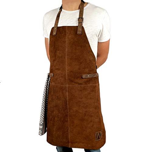 REDSALT® Lederschürze aus weichem 100{baaa93c3307fe464860b3b7c571d7eedab815815044c668d01ba1ea81bea4d78} Büffel Wild Leder, 84x62cm BBQ Grillschürze, Zubehör für die Outdoor Küche, Gastronomie, Bar, Barista, als Kochschürze oder Küchenschürze | Geschenke für Männer