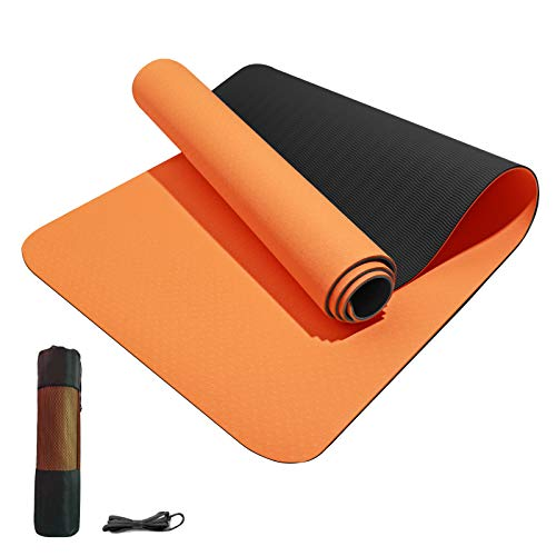 """Yoga Mat Non Slip TPE Yoga Mats for Women and Men Thick Workout Mat with Bags and Carriers,Thick Exercise Mats for Home 72""""x 24"""" Thickness 1/3""""for Yoga, Pilates and Floor Exercises"""