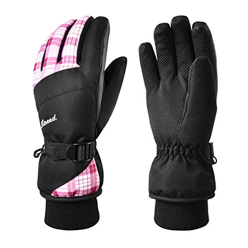 KINEED Waterproof Ski Gloves Touchscreen 3M Thinsulate Winter Warm Snow Gloves for Women Youth Pink Medium