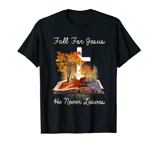 Caída por Jesús Él nunca deja la Biblia Cristiana Oto Camiseta
