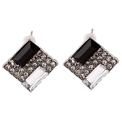 unknow Liangwan - Pendientes de tuerca de diamante de imitación con circonita cúbica cuadrada, regalo para mujer