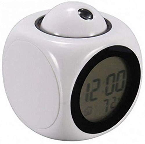 ZJZ weklicht wekker, LCD Voice Talking Clock met temperatuurweergave sluimerfunctie Bedside Projectie Digitale wekker