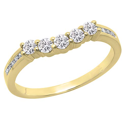 Dazzlingrock Collection Anillo de boda de 0,35 quilates (cttw) redondo de diamante cultivado en laboratorio para mujer, 5 piedras de 1/3 quilates, oro amarillo de 10 quilates, talla 4,5