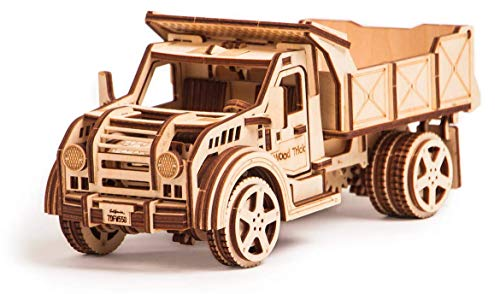 Wood Trick American Truck Model Kit with Functional Moving Body - 3D Wooden Puzzle Car for Adults and Kids to Build