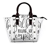 BROWCIN Just Girl Boss Building Her Empire Inspirational Phrase Modern Feminism Quote White Lettering Détachable La mode Tendance Madame Sac à main Sac à bandoulière