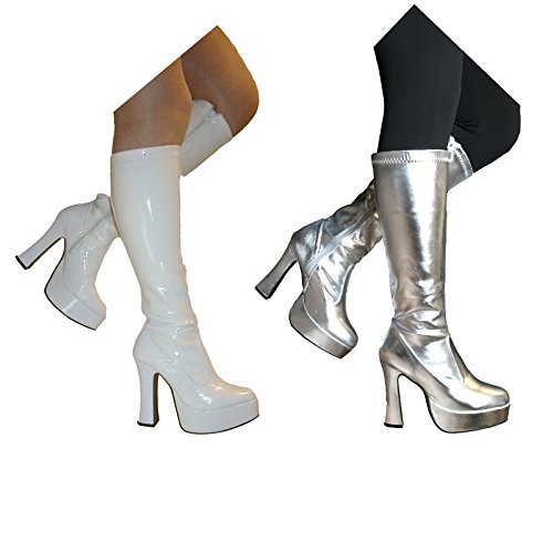 sowest Fancy Dress gogo Plattform Superhelden Party 60er 70er Retro Stiefel Weiß oder Silber