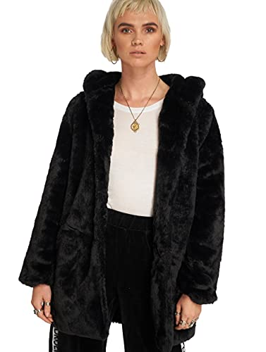 Urban Classics Ladies Hooded Teddy Coat, Farbe black, Größe M