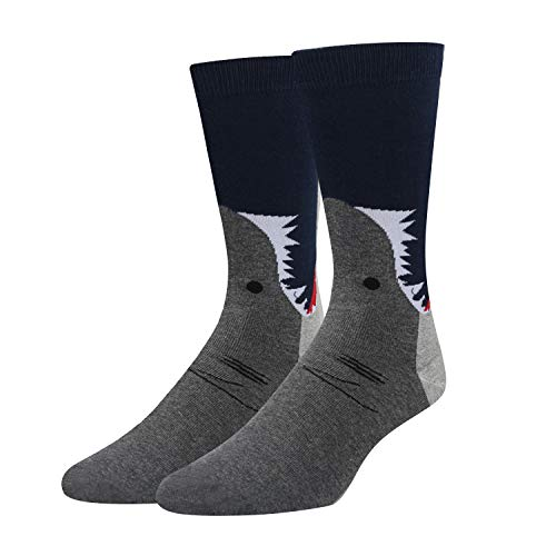 Men's Shark Crew Socks, Novelty Funny Crazy Cute Wide Mouth Animal Design