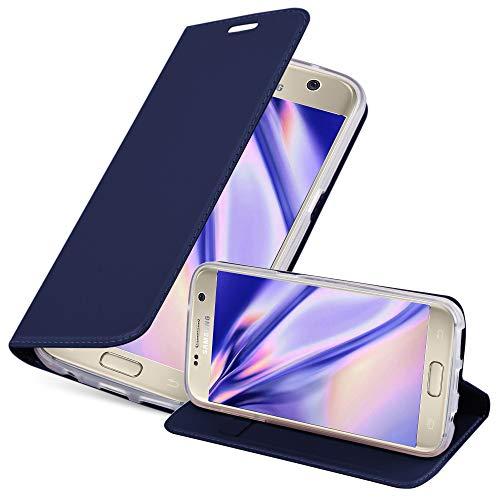 Cadorabo Funda Libro para Samsung Galaxy S7 en Classy Azul Oscuro - Cubierta Proteccíon con Cierre Magnético, Tarjetero y Función de Suporte - Etui Case Cover Carcasa