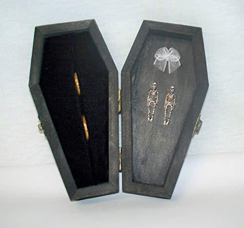 Kissen-Box für Hochzeitsfeier, Gothic, Wicca, Sarg, Grabstein, Ringträger