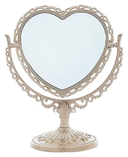 CZYNB Espejo de Maquillaje Espejo de tocador Espejo de Doble Cara Espejo Rectangular en Forma de Plata Victorian Estilo Espejo de vanidad con rotación de 360 Grados Espejo de vanidad
