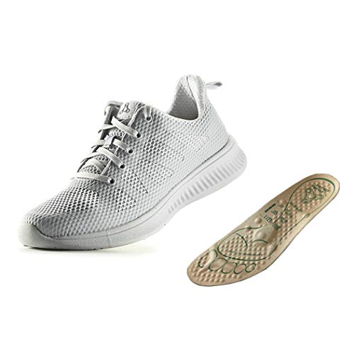 BREATH WALKER Foot Massage Shoes Help Improve Immunity for Middle-Aged and Elderly - with Arch Support Shoe Insert for Plantar Fasciitis(Grey 41)
