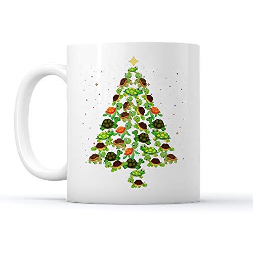 DesDirect Store Turtle Christmas Tree Pine Twinkle Mug White 15oz