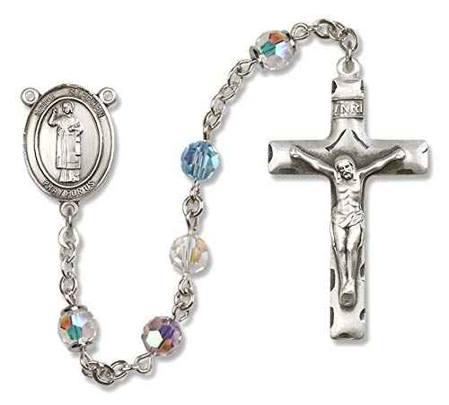 Bonyak Jewelry St. Stephen The Martyr Sterling Silver Rosary with Multi-Color Beads