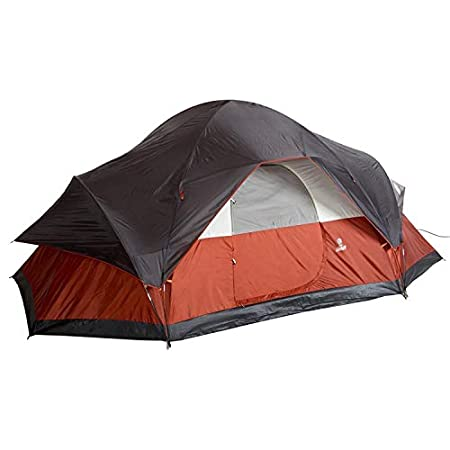 Coleman 8 Person Tent Red Canyon - extended dome-shaped.