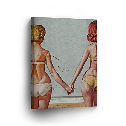 Lesbian Couple Oil Painting Canvas Print LGBT Love Sexy Woman Holding Hands Decorative Wall Art Decor Artwork Wrapped Stretcher Bars Ready to Hang%100 Handmade in The USA - 12x8