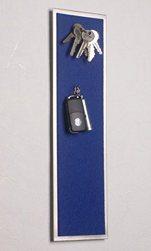 Magnet-Schlüsselbrett aus Edelstahl (42 x 12 cm), mit Filz in Blau - statt Schlüsselkasten!