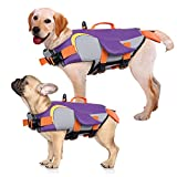 Kuoser Dog Life Jacket Vest, Adjustable Penguin Shape Dogs Swimming Vest, Safety High Visibility Pet Floatation Vest Life Preserver for Small Medium and Large Dogs for Swimming and BoatingPurple S