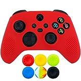 9CDeer 1 x Silicona Protector Cubrir Piel + 6 Apretones de Pulgar y Tapones a Prueba de Polvo para Xbox Series X / S Mando rojo