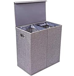 BirdRock Home Premium Double Laundry Hamper with Lid and Removable Liners - Linen Hampers - Grey Foldable Bin - Easily Transport Clothes - Cut Out Handles – Clothes Basket
