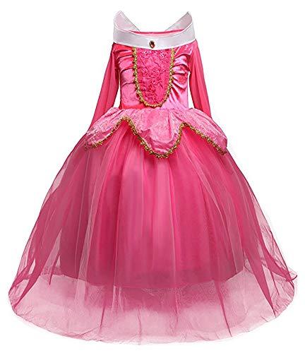 Eleasica Vestido para Niña Cuento Clásico La Bella Durmiente Princesa Aurora Disfraz Largo Azul Rosa Voluminoso Tul Multicapa Fiesta de Cumpleaños Cena Cumpleañera Cosplay Carnaval Halloween Musical