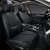 Coverado Front and Back Seat Covers 4 Pieces, Waterproof Nappa Leather Auto Seat Protectors Full Set with Head Pillow, Universal Car Accessories Fit for Most Sedans SUV Pick-up Truck, Black
