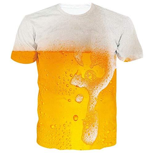 SunFocus Magliette Uomo Manica Corta 3D Stampa Grafica T Shirt Divertenti Casual Gialle a Maglietta per L'Estate L