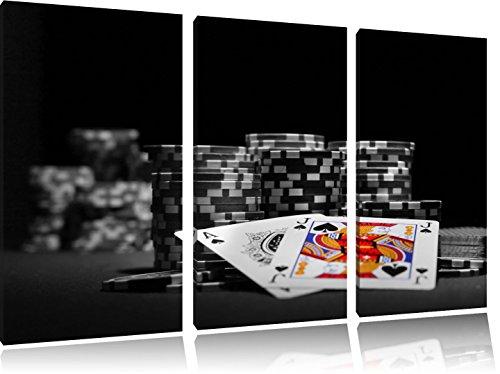 Pokertisch mit Pokerchips und Karten schwarz/weiß auf 3-Teiler Leinwandbild 120x80 Bild auf Leinwand, XXL riesige Bilder fertig gerahmt mit Keilrahmen, Kunstdruck auf Wandbild mit Rahmen, gänstiger als Gemälde oder Ölbild, kein Poster oder Plakat