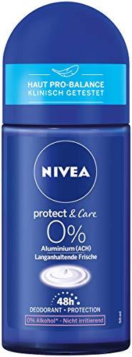 NIVEA Protect & Care Deo Roll On (50 ml), Deo Roller ohne Aluminium mit dem Duft der NIVEA Creme, pflegendes 48h Deodorant mit antibakteriellem Schutz
