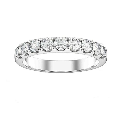 Vorra Fashion Band Engagement Women's Ring Solid 925 Sterling Silver Round Cut Simulated Diamond (N 1/2)