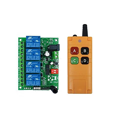 Relé DC 12V 24V 10A Canal DE RELAJO DE 4 Canal RF RF Wireless Control Remoto Sistema Receptor Transmisor 433MHz Ventilador/Motor (Color : 12v Input)