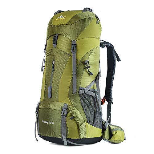 HWJIANFENG Trekkingrucksack Wanderrucksack - Große Kapazität 70L - Ultraleicht, strapzierfähig - Perfekt für Camping/Wandern/Bergsteigen/Reisen mit Regenhülle, Grün