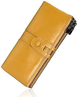ROULENS - Portafogli da donna in vera pelle, multifunzione, sottile, con cerniera, grande capacità porta carte con RFID (G...
